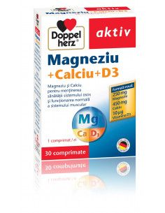 Doppelherz Aktiv Magneziu + Calciu + D3, 30 Comprimate