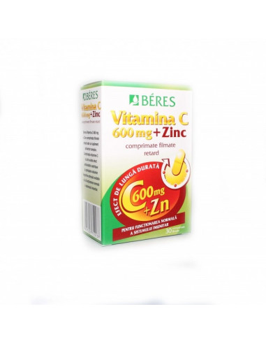 Beres Vitamina C 600 mg + Zinc x 30 comprimate filmate retard