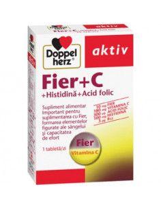 Doppelherz Aktiv Fier + C + Histidină + Acid folic x 30 tablete