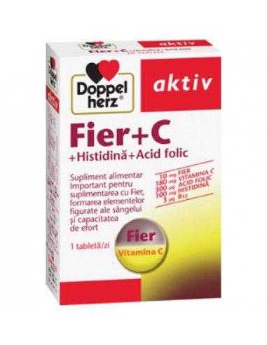 Doppelherz Fier + C + Histidină + Acid folic x 30 tablete