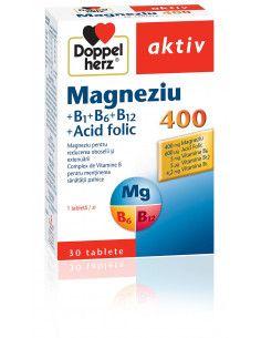 Doppelherz Aktiv Magneziu 400 B1+B6+B12 + Acid Folic x 30 tablete