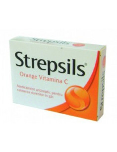 Strepsils Orange Vitamina C 100 mg x 12 comprimate