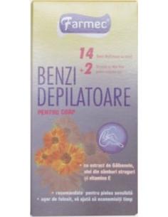 Farmec Benzi depilatoare corp, cu ceara alba şi extract de galbenele x 14