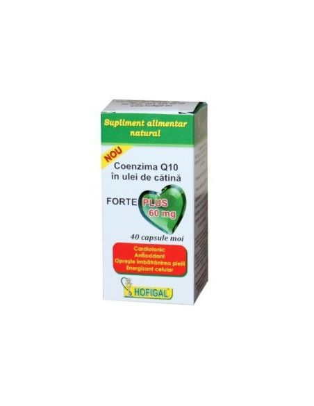 Coenzima Q10 forte Plus in ulei de catina 60mg x 40cps Hofigal
