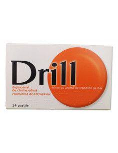 Drill pastile de supt cu miere si aroma trandafir x 24