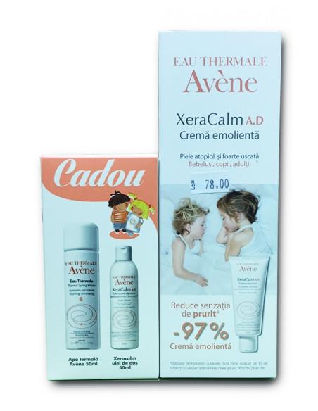 Avene XeraCalm A.D. crema emolienta 200 ml + Avene Apa termala 50 ml si Avene XeraCalm ulei de dus 50 ml