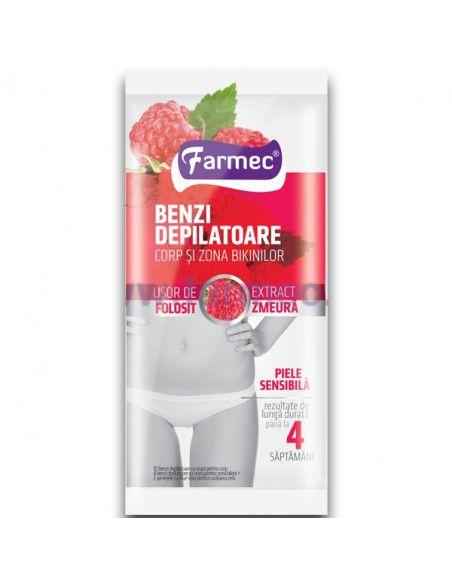 Farmec Benzi depilatoare corp si zona bikinilor cu extract de zmeura x 10 benzi