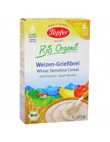 Topfer Cereale Organice cu gris de grau mere si banane 175g