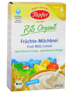 Topfer Cereale Probifido Gris cu lapte si fructe - mere, banane, portocale 200g