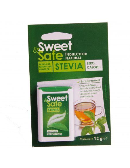 Indulcitor natural pe baza de extract din frunze de Stevia (Sweet & Safe) 200 tablete