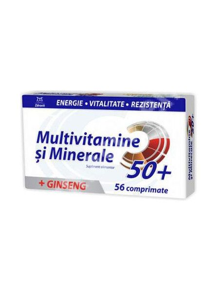 Zdrovit Multivitamine + minerale + ginseng 50+, 56 comprimate