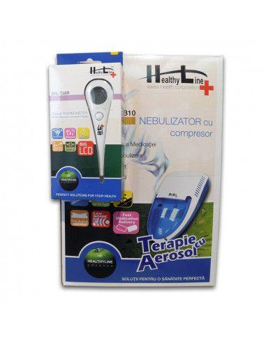 Aparat aerosoli cu compresor SHL-NB10, Healthy Line + Termometru digital cu cap flexibil CADOU