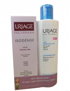 URIAGE Isodense crema 50ml + Lapte demachiant 250ml, 50% reducere