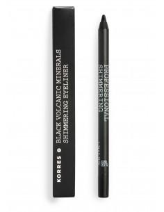Creion pentru ochi, profesional, cu particule lucioase și minerale vulcanice nuanță Black, 1.2 g, Korres