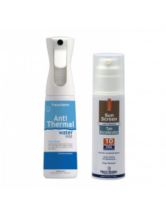 Frezyderm Crema fata si corp accelerator de bronzare SPF 10, 150 ml +Anti-thermal water-mist spray, 300ml