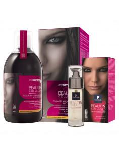 Beautin Collagen Lichid Capsuni-Vanilie 500 ml + Beautin Collagen Ser pentru fata si ochi, 30ml
