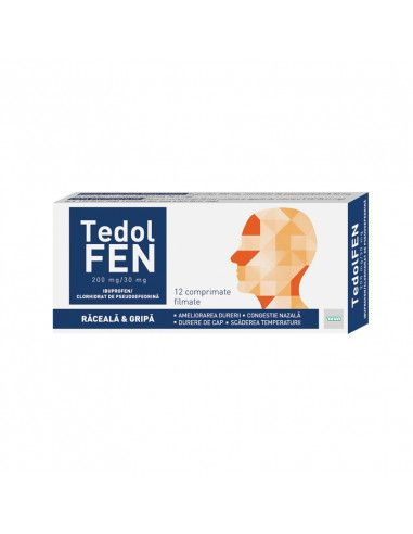 Tedolfen raceala si gripa 200mg/30mg 12 comprimate filmate Teva Pharmaceuticals